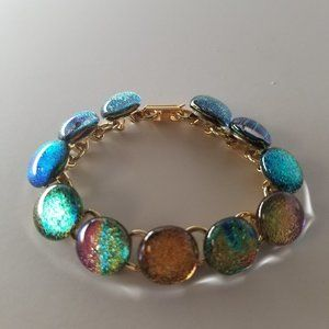 Bracelet Gold plated Dichroic glass